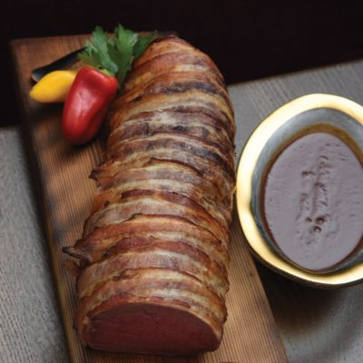 Bacon Wrapped Beef Tenderloin with Henry Bain Sauce